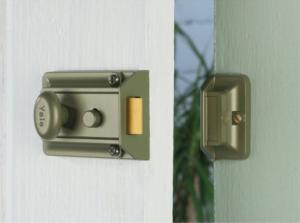a standard night latch on door